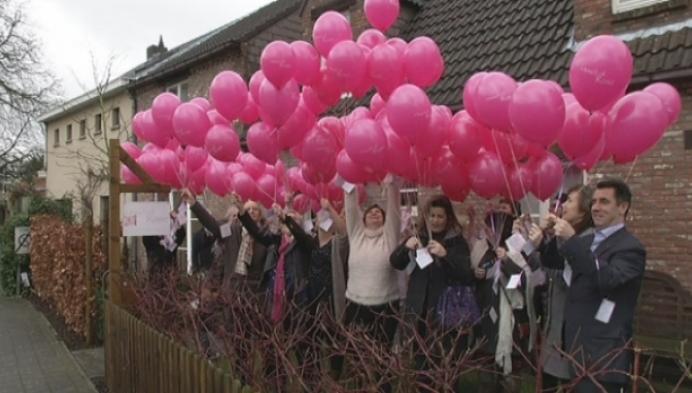 200 roze ballonnen voor Wereldkankerdag
